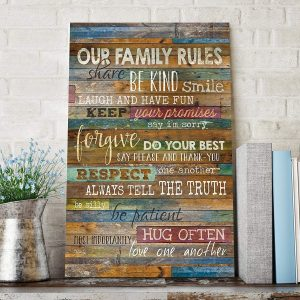 Our Family Rules Brown Wood Wall Art Decor Marla Rae