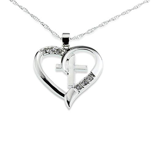Silver Cross and Heart Pendant - I Love Jesus Necklace