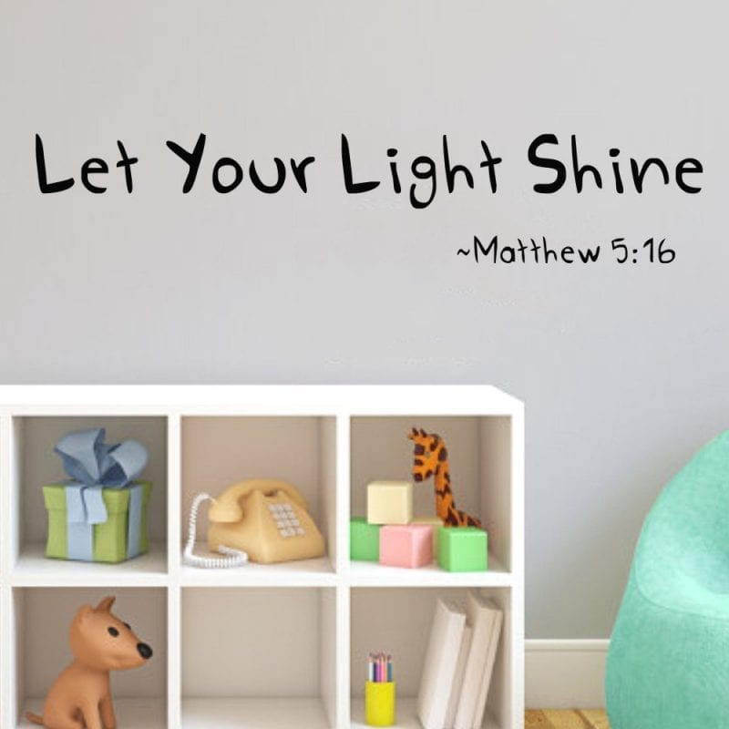 Let Your Light Shine Vinyl Wall Decal Art