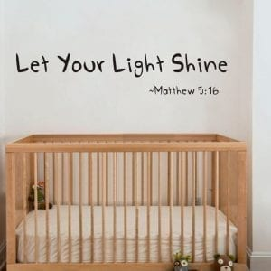 Let Your Light Shine Vinyl Wall Decal Art - Black
